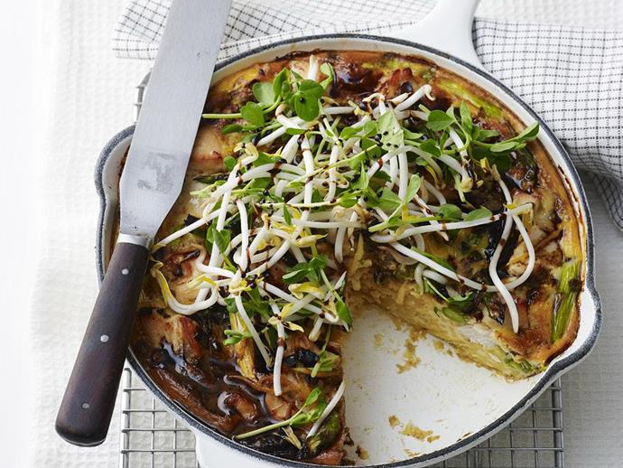 "[**Chicken, noodle and asparagus frittata**](https://www.womensweeklyfood.com.au/recipes/chicken-noodle-and-asparagus-frittata-10806|target=""_blank"")"