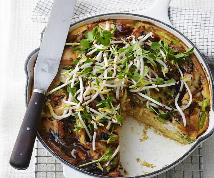 chicken, noodle and asparagus frittata