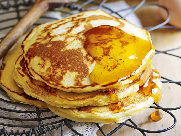 "Just five ingredients are need to turn out these basic [fluffy buttermilk pancakes](https://www.womensweeklyfood.com.au/recipes/pancakes-4236|target=""_blank"") from the Women's Weekly. Add a drizzle of maple syrup to finish for an easy and delicious breakfast pancake recipe."