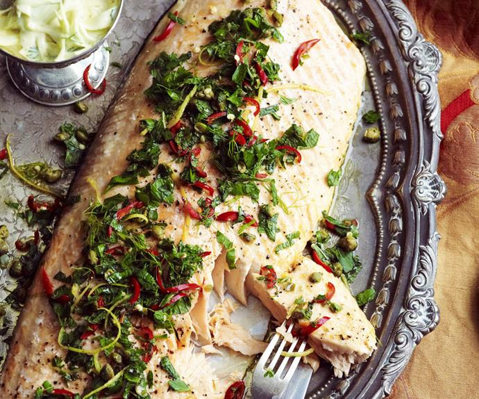 HERBED SALMON WITH CAPERS and Fennel Remoulade