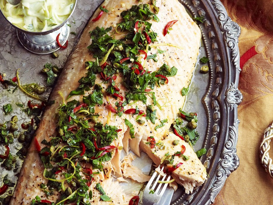 "**[Herbed salmon with capers and fennel remoulade](https://www.womensweeklyfood.com.au/recipes/herbed-salmon-with-capers-and-fennel-remoulade-10826|target=""_blank"")**  It really doesn't get much better than a perfectly baked whole salmon that's packed with flavours."