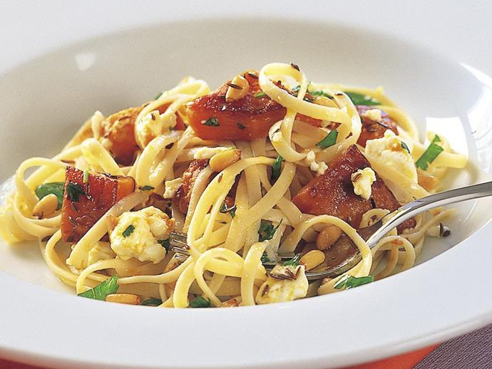"""**[Roasted pumpkin and fetta pasta](https://www.womensweeklyfood.com.au/recipes/roasted-pumpkin-and-fetta-pasta-15071 target=""""_blank"""")**  If you've got leftover roast pumpkin to use up, this one will be ready in no time."""