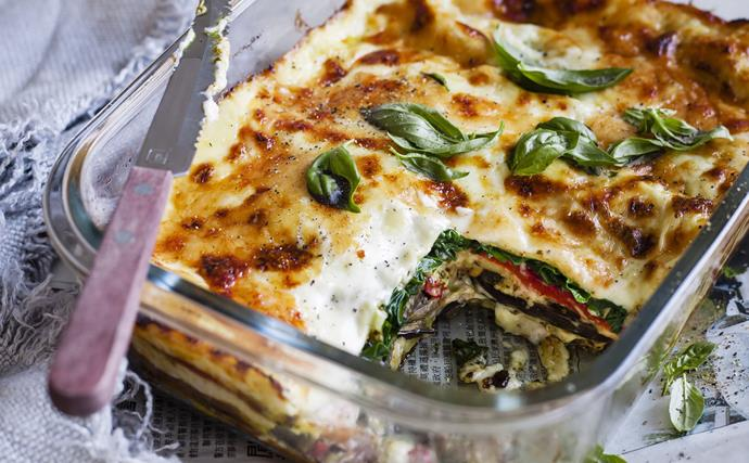 Spinach, pesto and parmesan lasagne