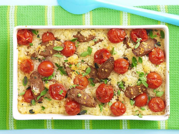 "**[Baked risotto with sausage and cherry tomatoes](https://www.womensweeklyfood.com.au/recipes/baked-risotto-with-sausage-and-cherry-tomatoes-10847|target=""_blank"")**  This oven-baked risotto is perfect for a quick family dinner. Hearty and delicious, minus all the stirring!"