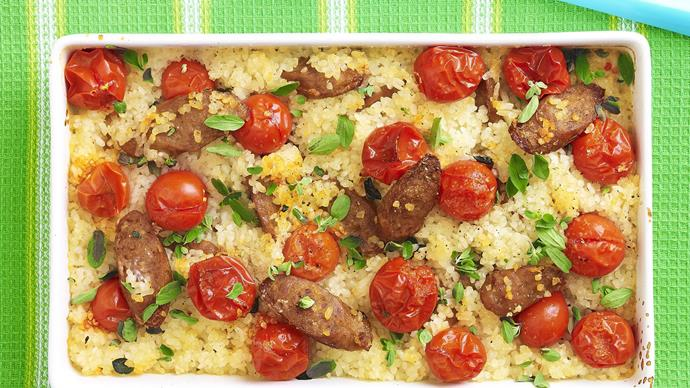 Baked Risotto with Sausage and Cherry Tomatoes