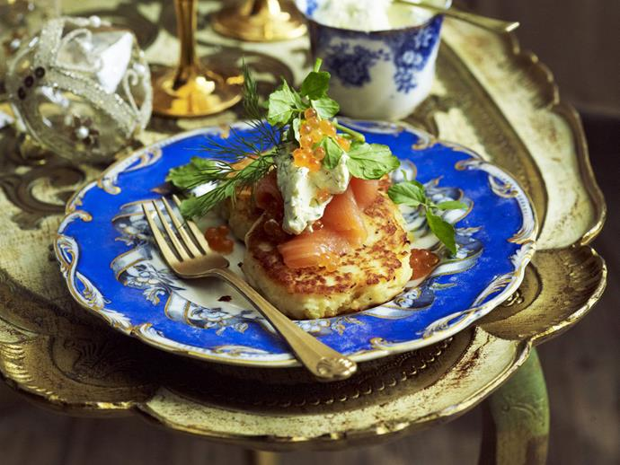 """**[Potato pancakes with smoked salmon and dill cream](https://www.womensweeklyfood.com.au/recipes/potato-pancakes-with-smoked-salmon-and-dill-cream-4273