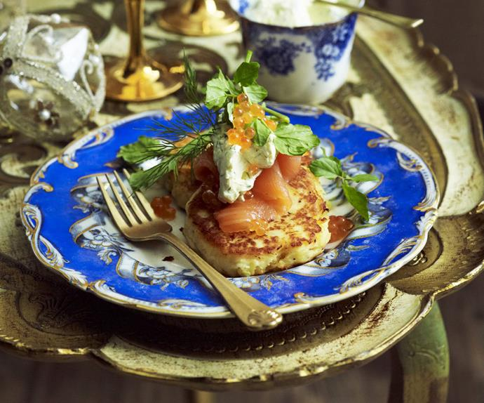 potato pancakes with smoked salmon and dill creme fraiche