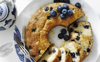 orange and blueberry syrup cake