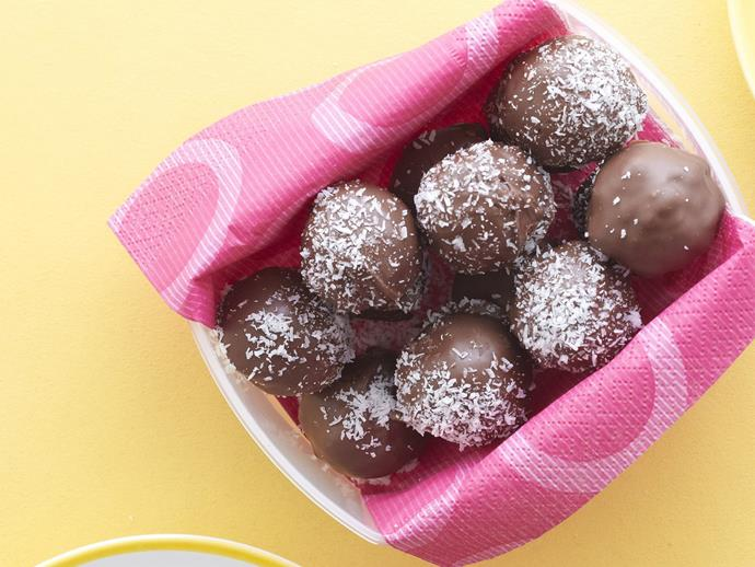"""These bite-sized [chocolate apricot truffles](https://womensweeklyfood.com.au/recipes/chocolate-apricot-truffles-15075