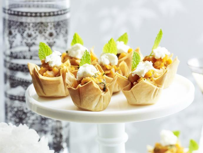 """**[Sweet potato, mint and goat's cheese tartlets](https://www.womensweeklyfood.com.au/recipes/sweet-potato-mint-and-goats-cheese-tartlets-4303