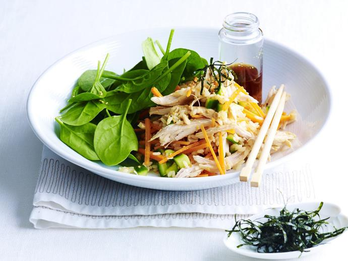 """Healthy, fragrant and authentic Japanese [teriyaki chicken rice salad.](https://www.womensweeklyfood.com.au/recipes/teriyaki-chicken-rice-salad-10381