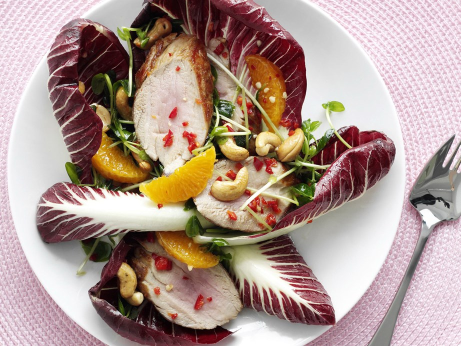 "Apples? Nah - this [warm pork and mandarin salad with honey dressing](https://www.womensweeklyfood.com.au/recipes/warm-pork-and-mandarin-salad-with-honey-dressing-10405|target=""_blank"") is complete with zesty segments of refreshingly tart mandarin."