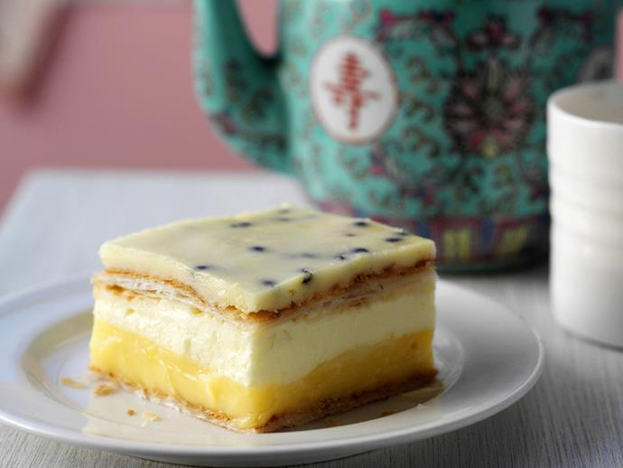 """This creamy [vanilla and passionfruit layers in this dessert](https://www.womensweeklyfood.com.au/recipes/vanilla-cheesecake-slice-10428