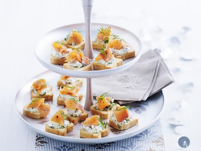 "**[Smoked salmon and dill canapes](https://www.womensweeklyfood.com.au/recipes/smoked-salmon-and-dill-canapes-4372|target=""_blank"")**"