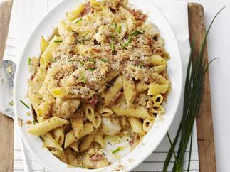 CHICKEN PENNE CARBONARA WITH CRISPY CRUMBS