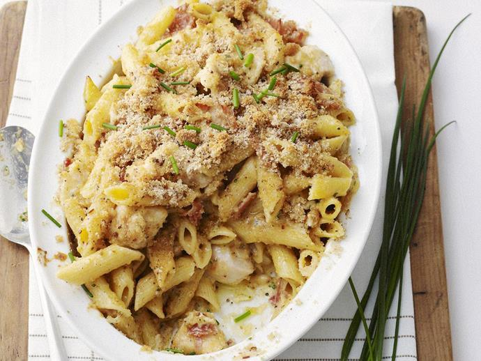 "A delicious baked pasta dish of [chicken penne carbonara with crispy crumbs](https://www.womensweeklyfood.com.au/recipes/chicken-penne-carbonara-with-crispy-crumbs-10451|target=""_blank"") to keep the whole family happy."