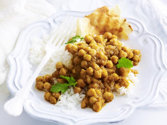 "**[Chana masala](https://www.womensweeklyfood.com.au/recipes/chana-masala-10465|target=""_blank"")** is a deliciously spicy vegetarian chickpea curry, best served with steamed basmati rice, yoghurt and naan."