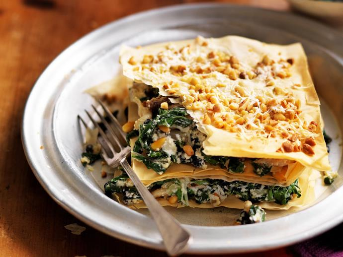 "The easiest [spinach & cheese pie](https://www.womensweeklyfood.com.au/recipes/silver-beet-and-porcini-fillo-stacks-4392|target=""_blank"") you will ever make."
