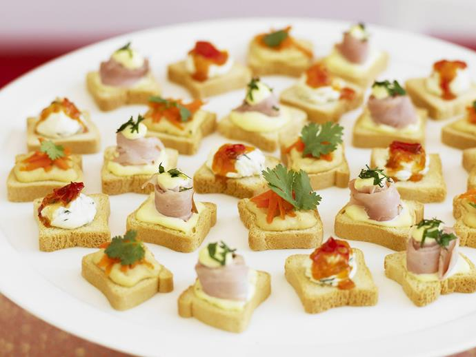 "**[Canapés with three toppings](https://www.womensweeklyfood.com.au/recipes/canapes-with-three-toppings-4403|target=""_blank"")**"