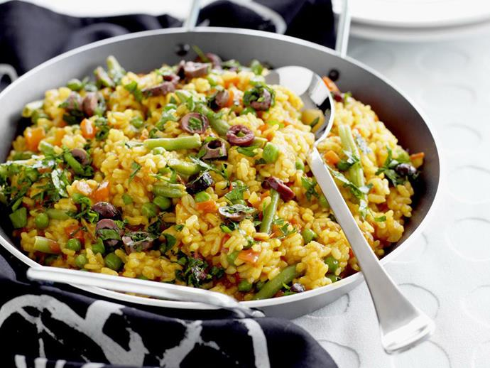 "This colourful [vegetarian paella](https://www.womensweeklyfood.com.au/recipes/vegetarian-paella-10507|target=""_blank"") strays slightly from the traditional form, but is well worth the adaptation."