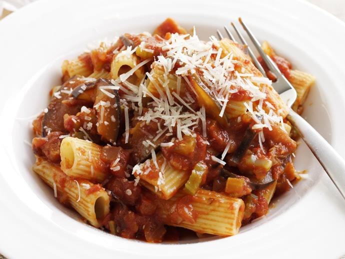 "**[Pasta with eggplant sauce](https://www.womensweeklyfood.com.au/recipes/rigatoni-with-eggplant-sauce-4407|target=""_blank"")**"