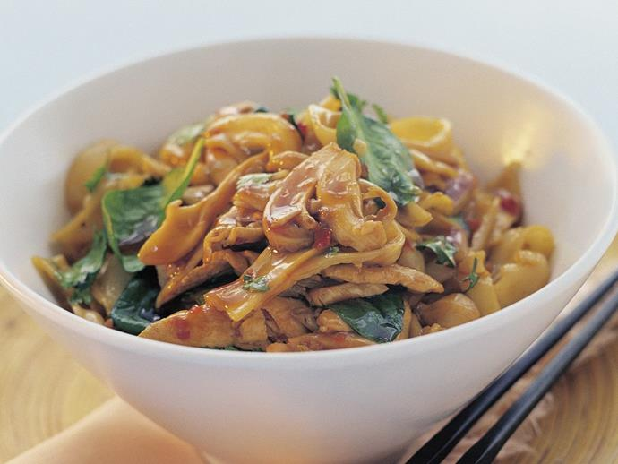 """**[Chicken, vegetable and rice noodle stir-fry](https://www.womensweeklyfood.com.au/recipes/chicken-vegetable-and-rice-noodle-stir-fry-16583