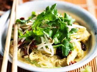 vegetable laksa with fried tofu