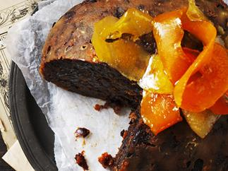 boiled Christmas pudding with homemade citrus peel