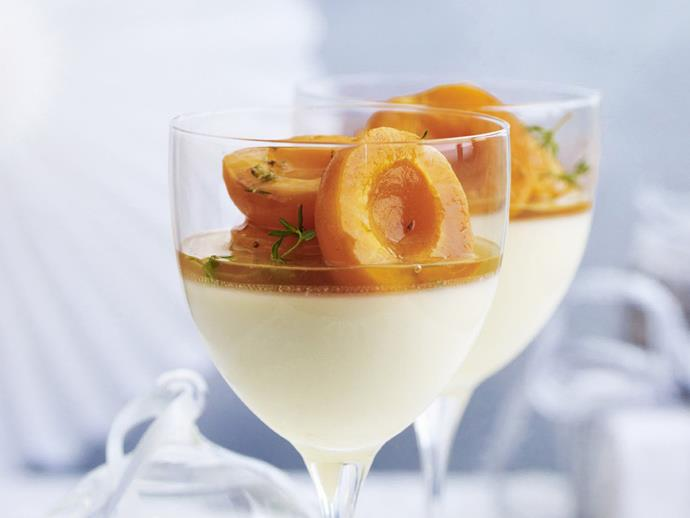 """**[Honey panna cotta with apricots in thyme syrup](https://www.womensweeklyfood.com.au/recipes/honey-panna-cotta-with-apricots-in-thyme-syrup-10148