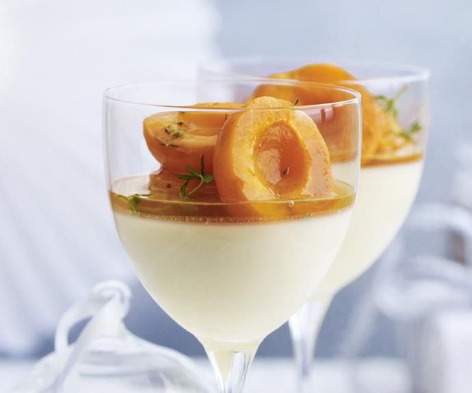 HONEY PANNA COTTA WITH Apricots in Thyme Syrup