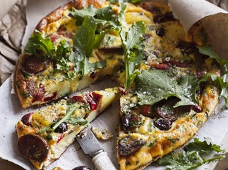 potato, capsicum and olive frittata
