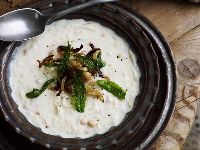 "[Pressure cooker rice, chickpea and yoghurt soup recipe.](https://www.womensweeklyfood.com.au/recipes/pressure-cooker-rice-chickpea-and-yoghurt-soup-4129|target=""_blank"")"