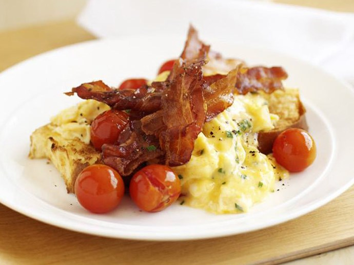 creamy scrambled eggs on brioche with crispy bacon