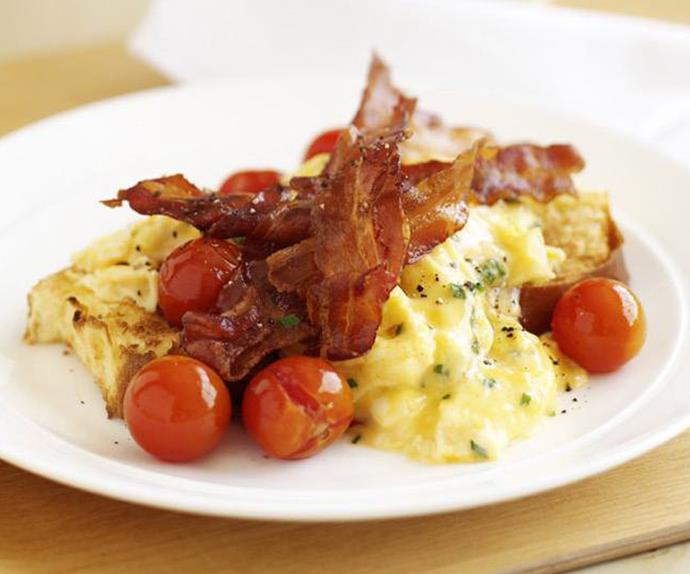 creamy scrambled eggs on brioche with crispy bacon