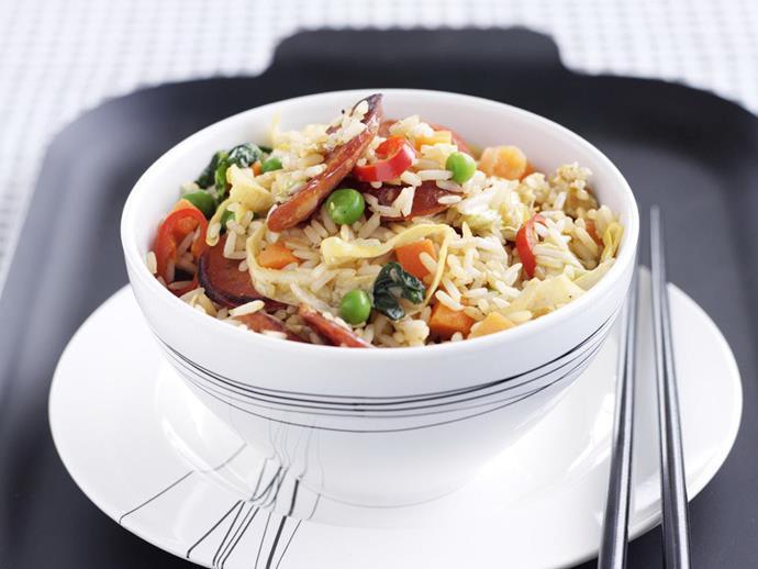 "**[Chorizo fried rice](https://www.womensweeklyfood.com.au/recipes/chorizo-fried-rice-10270|target=""_blank"")**"