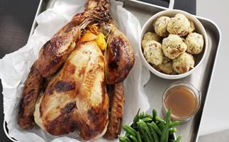 honey-glazed turkey with orange-pecan stuffing and kumara mash