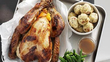 Honey-glazed turkey with orange-pecan stuffing and kumara mash