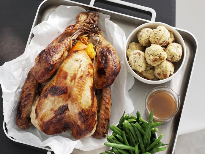 """**[Honey-glazed turkey with orange-pecan stuffing and kumara mash](https://www.womensweeklyfood.com.au/recipes/honey-glazed-turkey-with-orange-pecan-stuffing-and-kumara-mash-9910 target=""""_blank"""")**"""