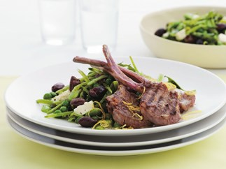 lemon and garlic lamb cutlets with mixed pea salad