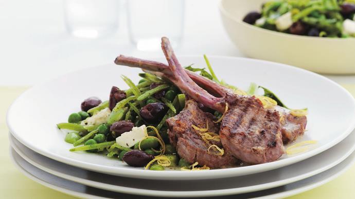 lemon and garlic lamb cutlets with mixed pea salad