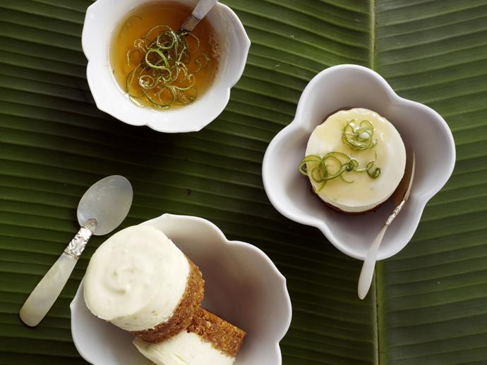 """**[Lime and palm sugar cheesecakes](https://www.womensweeklyfood.com.au/recipes/lime-and-palm-sugar-cheesecakes-10007