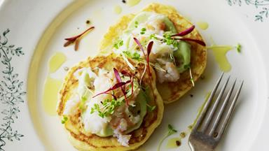 Corn blini with avocado cream and crab