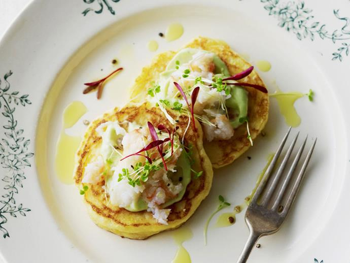 "**[Corn blini with avocado cream and crab](https://www.womensweeklyfood.com.au/recipes/corn-blini-with-avocado-cream-and-crab-4013|target=""_blank"")**"