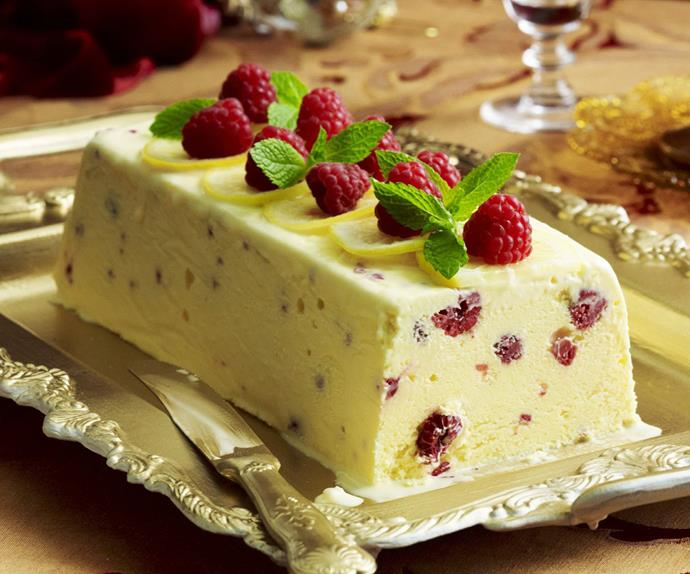 lemon and raspberry semifreddo
