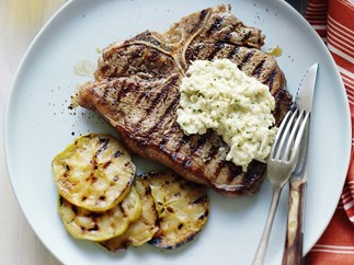 pepper steaks with fennel remoulade & apple