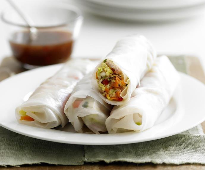barbecued pork rice paper rolls