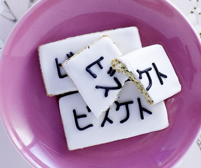 green tea and almond tiles