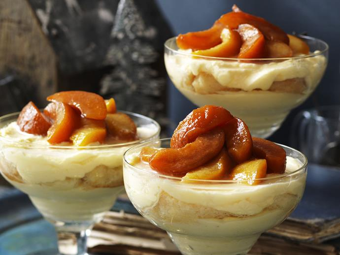 "You could use apricots as well or instead of either fruit for this divine [peach and nectarine trifle](https://www.womensweeklyfood.com.au/recipes/peach-and-nectarine-trifle-15134|target=""_blank""). As a rule of thumb, just go with whatever is best in season."