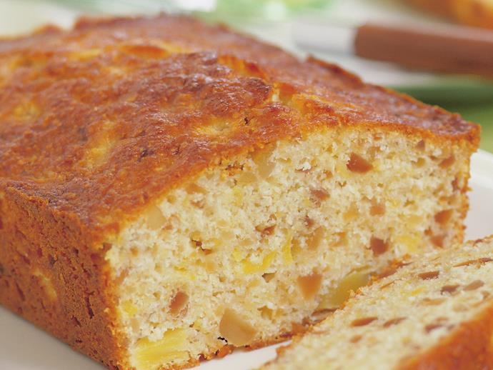 "**[Pineapple macadamia loaf](https://www.womensweeklyfood.com.au/recipes/pineapple-macadamia-loaf-3820|target=""_blank"")**"