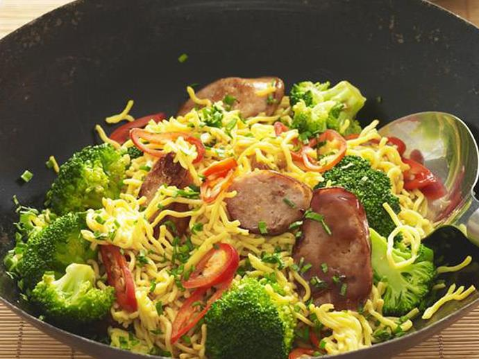 "**[Pork sausage & broccoli stir-fry](https://www.womensweeklyfood.com.au/recipes/pork-sausage-and-broccoli-stir-fry-3824|target=""_blank"")**"